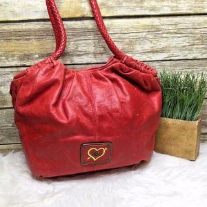The Sak Red Leather Boho Shoulder Bag Hobo Tote